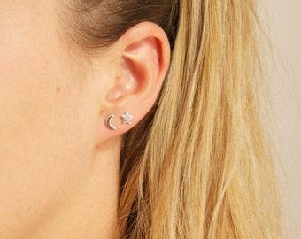Tiny star earrings - sterling silver stud earrings - tiny stud earrings - star studs - zodiac - small star studs - star earrings -A1-SF-0702