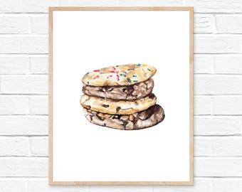 Cookie Print Food Art Print Food Print Artwork Cookie Illustration Cookie Watercolor Painting Food Art Food Decor Wall Art Prints Cookies