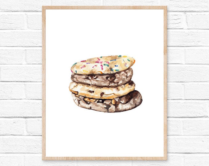Cookie Print Food Art Print Food Print Artwork Cookie Illustration Cookie Watercolor Painting Food Art Food Decor Wall Art Prints Cookies