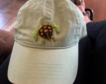 Handmade embroidery turtle hat