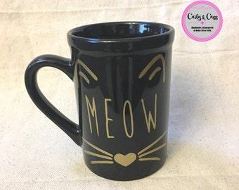 Meow Cat Coffee Mug, coffee cup, coffee, coffee mug, coffee lover, cat lover, cat gift, cute gift