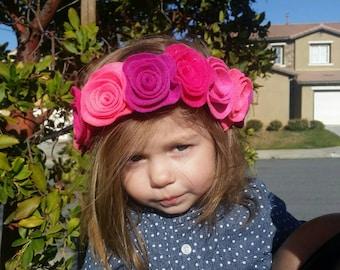 Beautiful Pink Felt Flower Crown floral Crown