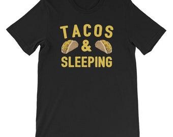 Taco Shirts Men Teens Tacos & Sleeping Food Hobby Lovers