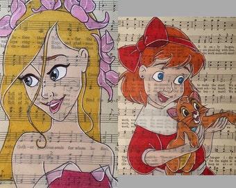 oliver and company art/ giselle art/ disney music sheet art