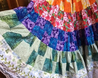 Handmade Patchwork Skirt With Lace Trim And Elastic Waist
