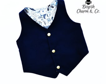 Boys Vest, Boys Navy Vest, Boys Navy Blue Vest, Boys Blue Vest, Toddler Navy Vest, Boys Wedding Vest, Ring Bearer Outfit, Boys Formal Wear