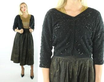 50s Angora Wool Beaded Cardigan Sweater Black Sequins Cropped Vintage 1950s Large L Medium M Pinup Rockabilly Mar Sina