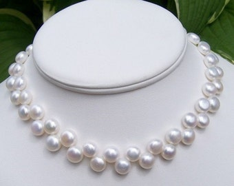 SALE Freshwater Button Pearl Bridal Choker  Necklace with Sterling Silver Clasp