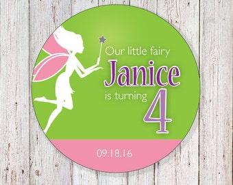 "Fairy Birthday 2"" Round Label (DIGITAL FILE)"