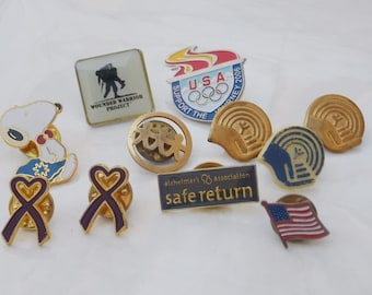Collection of Vintage Lapel Pins from the 1980s & 90s, Good Causes