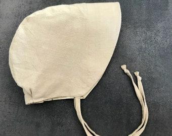 Beige Woven Baby Bonnet -Linen Sun Bonnet - Toddler Sun Hat - Reversible Bonnet