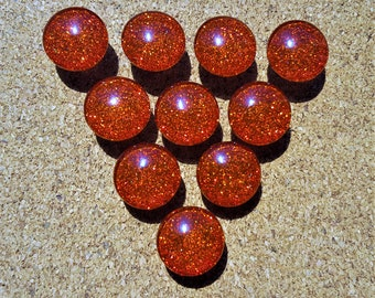 Red Glitter Thumbtacks, Push Pins Set. Glass Thumbtacks. Perfect for Bulleting Boards, Office Gifts, Office Decor.