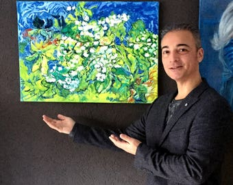 oil paintings on linen-Vincent van Gogh style-flowers-70 x 50 cm-Dutch original art-Worldwide shipping