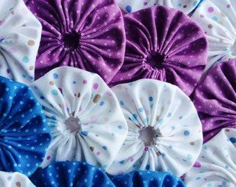 Fabric YoYo Applique 50 POLKA DOTS 1 1/2 Inch Headband Hair Clip Ribbon Trim