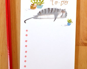 Cat Notepad- To-Do List- Get Organized- New Year Gift