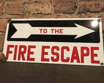 Vintage Porcelain 'To The Fire Escape Sign' Emergency Decor Arrow