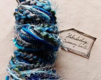 Traversing the Deeps cerulean blue mix tinsel fringe trim painterly glitter Novelty Fiber Yarn Sampler Bundle