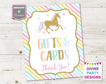 INSTANT DOWNLOAD Printable Unicorn 8x10 Gifts and Cards Party Sign / Unicorn Collection / Item #3507