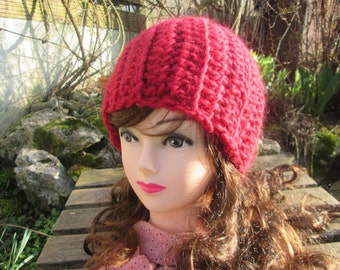 Crochet beret crochet hat red Jana