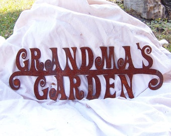 Grandma's Garden Stake in natural rust finish, metal garden stake, metal garden art, metal sign, metal garden decor