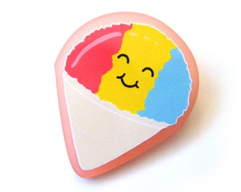 Happy Rainbow Snow Cone Acrylic Brooch Pin