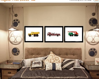 FLASH SALE til MIDNIGHT Three Vintage Toy Trucks on White Photo Prints, Rustic Decor, Boys Nursery, Toy Trucks