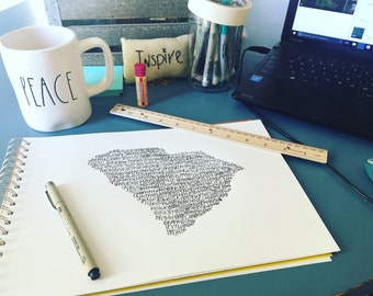 Typography Print. Handwritten. Art. State Art. South Carolina Art. South Carolina cities and towns. 8.5 X 11. South Carolina map.