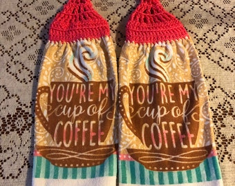 Youre my cup of coffee theme handmade crochet top decorative kitchen towel set