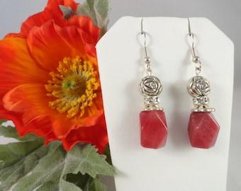 Coral amazonite semi precious stone bead earrings.