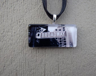 New York Broadway Sign Rectangle Glass Pendant and Ribbon Necklace