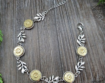 Handmade Bullet Bracelet in Antique Silver  for the Country Hunting Girl 40 Caliber