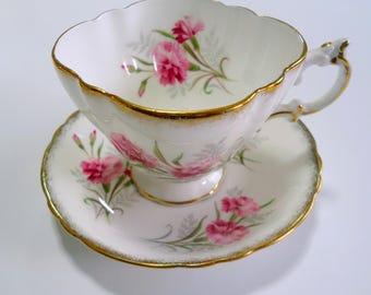 Vintage Paragon Tea Cup and Saucer Teacup Pink Carnation Design Antique