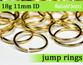 18g 11 mm ID NuGold brass jump rings -- 18g11.00 open jumprings