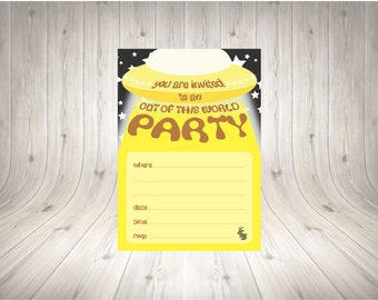 Yellow UFO Party Invitation INSTANT PRINT