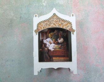 Miniature Toy Theater Vignette with Goldilocks & The Three Bears