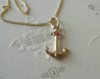 Anker gold pendant, 14k gold anker pendant set with pink ruby, ruby pendant, gold ruby necklace, pìnk necklace.