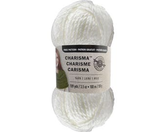 WHITE Bulky Charisma Loops and Threads Yarn. Solid White Chunky Yarn. Soft Acrylic Great for Hat, Scarf, Afghan, Loom. Yarn 3.5oz 109yds ±