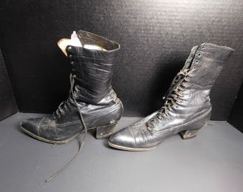 Victorian Black High Top  Shoes