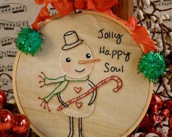 Christmas Snowman embroidery Pattern PDF - jolly happy soul stitchery retro frame candy cane