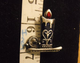 Christmas Candle Brooch,Silver Tone & Dark Blue Enamel Lite Dripping Candle Brooch, Holiday Candle Brooch  {F/FR}
