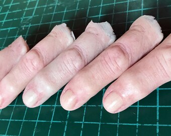 Severed silicone finger props, painted or unpainted. Realistic severed fingers perfect for film, TV, stage, cosplay and Halloween.
