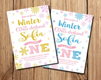 Winter Onederland Invitation, Winter Onederland Birthday Invitations, Snowflake, Gold, Winter onederland Birthday Invitations, Chalkboard
