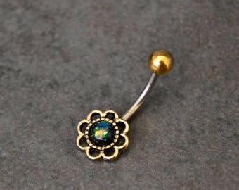 Gold Belly Ring - Black Opal - Little - Belly Button Ring - Little Belly Ring - Short Belly Ring -  Surgical Steel - Belle Bohemian