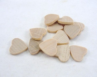 "12 Wooden hearts traditional 3/4 inch wide 1/8"" thick .75 wood heart unfinished diy"