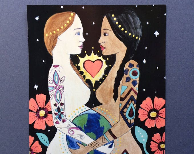 "MUNDO Magnet/ 4"" x 5""/ Fridge magnet/ pregnancy art/ birth art/ doula/ midwife"