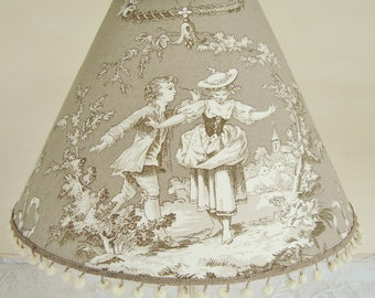 French TOILE DE JOUY Lampshade, Hand made lampshade, French country toile, French fabric, French home, 7.8 x 11.8 ins, Gray taupe