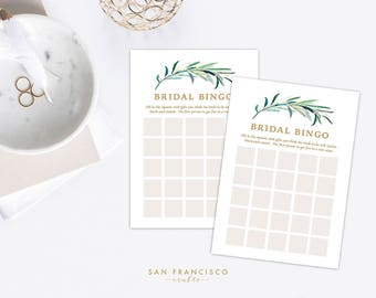 Bridal Shower BINGO Game | Green, Gold | Eucalyptus Collection - PDF Instant Download