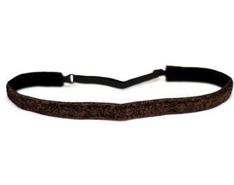Adjustable Non-Slip Headband Thin Brown Glitter