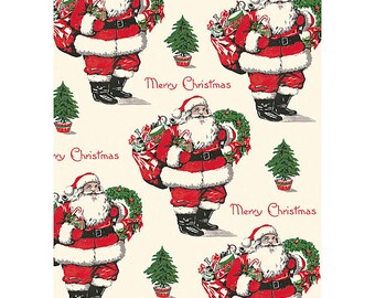 Vintage Santa Claus Wrapping Paper by Cavallini to Frame or for Wrapping, Book Binding, Decoupage, Paper Arts PSS 3429