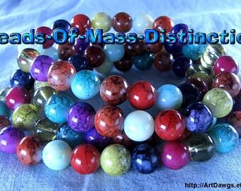 10mm Glass Jewel Beads - 1 36 Inch Strand - Multi-colored - Destash Sale